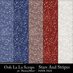 Stars and Stripes OLL Glitter Paper Pack-$1.40 (Ooh La La Scraps)