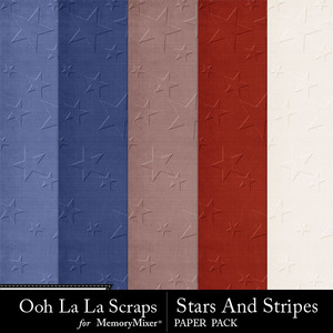 Stars and stripes embossed papers medium