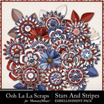 Stars and Stripes OLL Layered Flower Pack-$1.99 (Ooh La La Scraps)