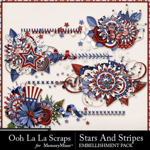 Stars and stripes cluster stitches medium
