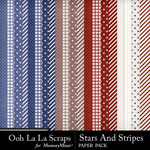 Stars and Stripes OLL Pattern Paper Pack-$1.40 (Ooh La La Scraps)