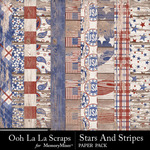 Stars and Stripes OLL Worn Wood Papers-$1.40 (Ooh La La Scraps)
