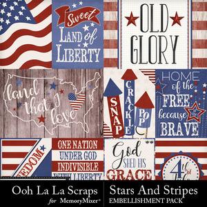 Stars and stripes pocket scrap cards medium