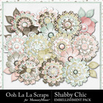 Shabby Chic Layered Flowers Pack-$1.99 (Ooh La La Scraps)