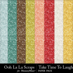 Take time to laugh glitter papers medium
