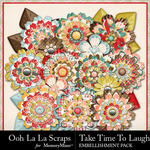 Take Time To Laugh Layered Flowers Pack-$1.99 (Ooh La La Scraps)