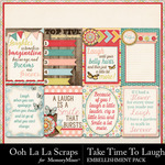 Take Time To Laugh Pocket Scrap Cards Pack-$1.99 (Ooh La La Scraps)