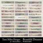 Beautiful dreamer word strips small