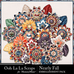 Nearly Fall Layered Flowers Pack-$1.40 (Ooh La La Scraps)