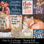 Nearly Fall Pocket Scrap Cards Pack-$1.99 (Ooh La La Scraps)