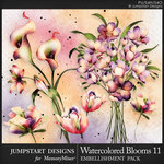 Watercolor Blooms 11 Embellishment Pack-$2.40 (Jumpstart Designs)