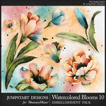 Watercolor Blooms 10 Embellishment Pack-$3.99 (Jumpstart Designs)