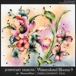 Watercolor Blooms 9 Embellishment Pack-$3.99 (Jumpstart Designs)