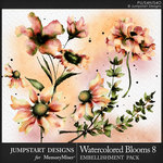Watercolor Blooms 8 Embellishment Pack-$3.99 (Jumpstart Designs)