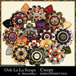 Creepy Layered Flowers Pack-$1.99 (Ooh La La Scraps)