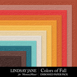 Colors of Fall Embossed Paper Pack-$1.75 (Lindsay Jane)
