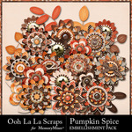 Pumpkin Spice Layered Flowers Pack-$1.99 (Ooh La La Scraps)