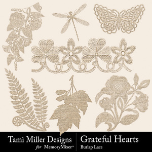 Grateful hearts burlap lace medium