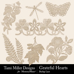 Grateful hearts burlap lace small