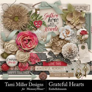 Grateful hearts embellishments medium