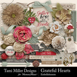 Grateful hearts embellishments small