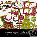 Holly Jolly Embellishment Pack-$1.50 (Designs by Krista)