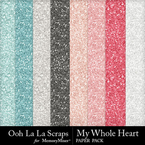 My whole heart glitter papers medium