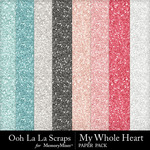 My Whole Heart Glitter Paper Pack-$1.99 (Ooh La La Scraps)