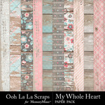 My Whole Heart Worn Wood Papers-$1.99 (Ooh La La Scraps)