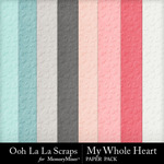 My Whole Heart Embossed Papers-$1.99 (Ooh La La Scraps)