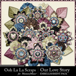 Our Love Story Layered Flowers Pack-$1.99 (Ooh La La Scraps)