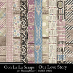 Our Love Story Wood Paper Pack-$1.99 (Ooh La La Scraps)