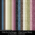 Our Love Story Glitter Paper Pack-$1.99 (Ooh La La Scraps)