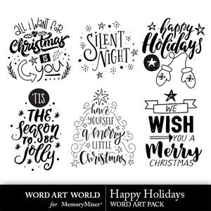 Happy holidays word art medium