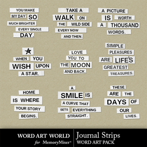 Journal strips word art medium