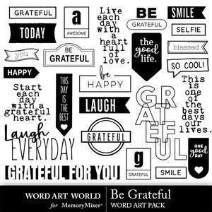 Be grateful word art medium