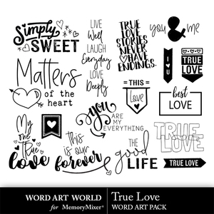 True love word art medium