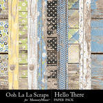 Hello There Worn Wood Paper Pack-$2.49 (Ooh La La Scraps)