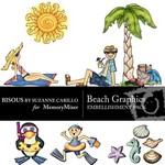 Beach Graphics Embellishment Pack-$3.00 (Bisous By Suzanne Carillo)