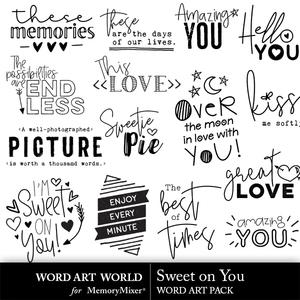 Sweet on you word art medium
