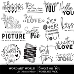Sweet on you word art small