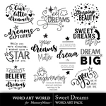 Sweet Dreams WordArt Pack-$3.99 (Word Art World)