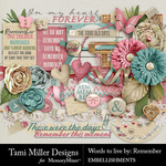 Words to Live By Remember Embellishments-$4.99 (Tami Miller)