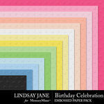 Birthday Celebration Embossed Paper Pack-$2.49 (Lindsay Jane)