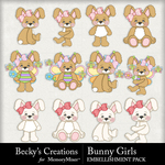 Bunny Girls Embellishment Pack-$2.99 (Becky's Creations)
