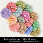 Silk Flowers Embellishment Pack-$2.99 (Becky's Creations)