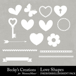 Love Shapes Embellishment Pack-$2.99 (Becky's Creations)
