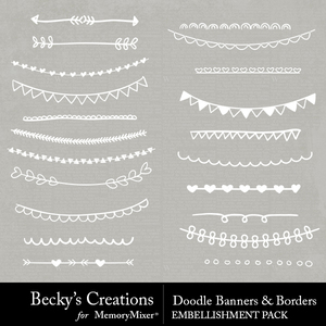 Doodles banners borders medium