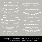 Doodle Banners Borders Embellishments-$2.99 (Becky's Creations)
