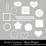 Basic Shapes Embellishment Pack-$2.99 (Becky's Creations)